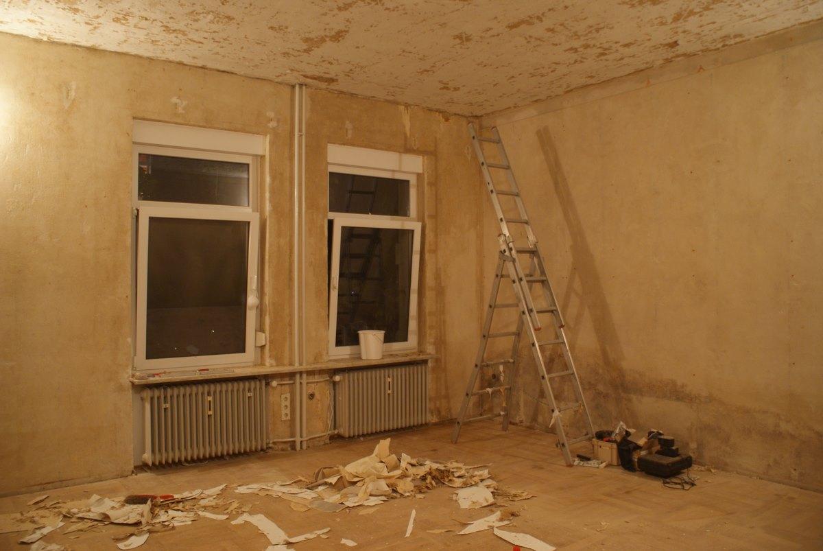 Wohnbereich während der Sanierung